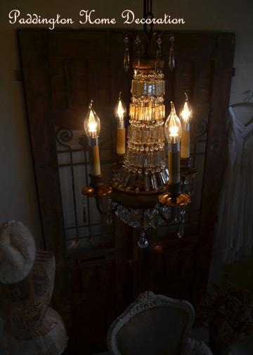 ベリーニシャンデリア4球, アンティークシャンデリア, クリスタルガラス, ドロップシャンデリア, アンティーク照明 (E14LED電球4球付)1
