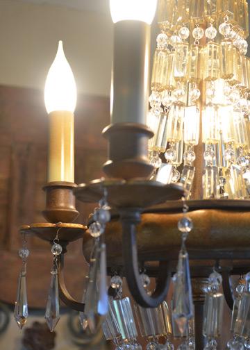 ベリーニシャンデリア4球, アンティークシャンデリア, クリスタルガラス, ドロップシャンデリア, アンティーク照明 (E14LED電球4球付)2