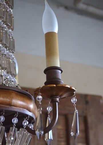ベリーニシャンデリア4球, アンティークシャンデリア, クリスタルガラス, ドロップシャンデリア, アンティーク照明 (E14LED電球4球付)4