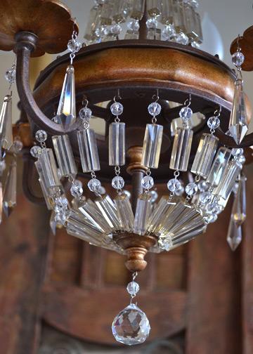ベリーニシャンデリア4球, アンティークシャンデリア, クリスタルガラス, ドロップシャンデリア, アンティーク照明 5